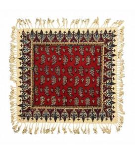 رومیزی قلمکار 40x40 اعلا صادراتی طرح بوته زمینه قرمز