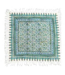 رومیزی قلمکار 60x60 اعلا صادراتی طرح گل و بوته زمینه سبز