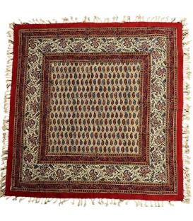 رومیزی مربعی قلمکار صادراتی طرح بوته یک متری زمینه کرمی