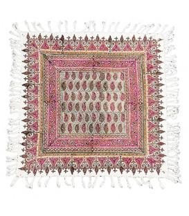 رومیزی پرکار مربعی 50 سانتی قلمکار اعلا صادراتی طرح بوته زمینه صورتی