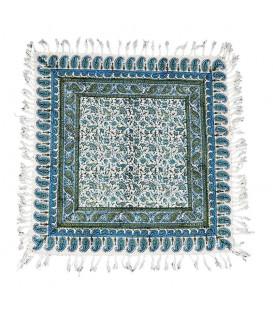 رومیزی قلمکار 60x60 صادراتی طرح گل و برگ ریز زمینه سبز