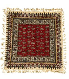 رومیزی قلمکار مربعی 60 سانتی صادراتی طرح بوته زمینه قرمز