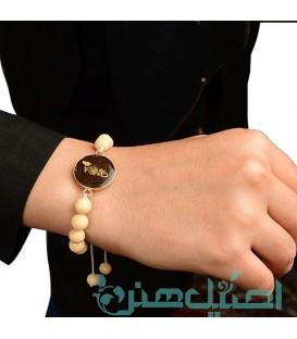 Resin bracelet with cream beads