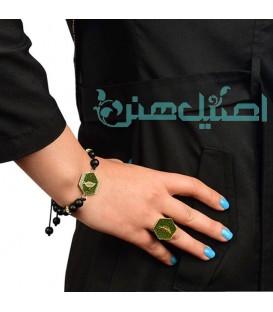 ست دستبند و انگشتر رزینی با مهره سنگ اونیکس