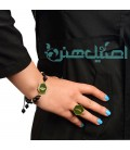 Resin bracelet and ring set with beads Onyx