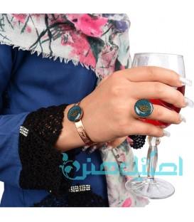 نیم ست دستبند و انگشتر رزینی طرح برگ