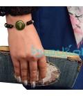 Resin bracelet with beads leaves design