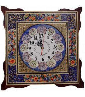 ساعت مربعی خاتم کاری 40 سانتی با طرح گل و مرغ