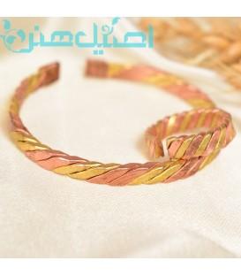 Copper bracelet and ring set spiral