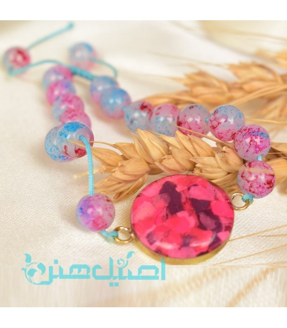 Resin bracelet with pink beads