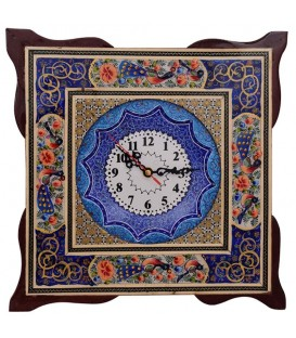 Khatamkari clock flower and bird 34 cm