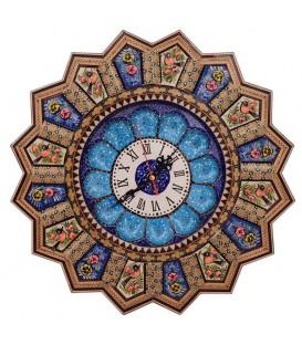ساعت خاتم کاری اصفهان 37 سانتی با طرح گل و مرغ