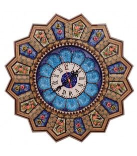 Isfahan khatamkari clock 37 cm flower and bird