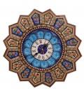 Isfahan khatamkari clock 37 cm flower and bird