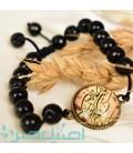 Resin bracelet with Black beads Va In Yakad design