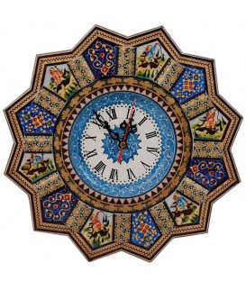 Khatamkari clock round 32 cm solar and hunting