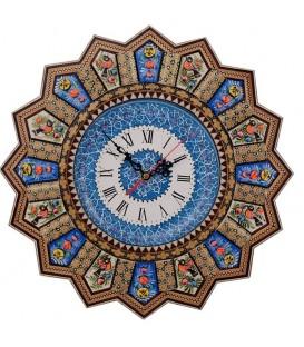 Isfahan khatamkari clock 37 cm with flat mina plate
