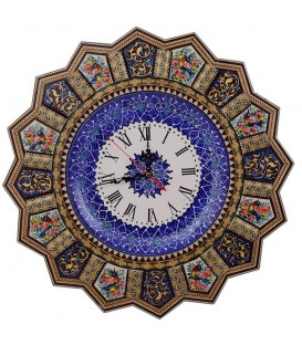 Khatamkari clock solar 42 cm flower and bird