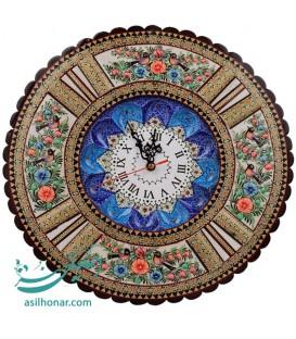 ساعت دیواری خاتم کاری شده با صفحه مینا قُلی و طرح گُل و مرغ قطر 37 سانتی