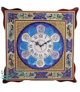 ساعت دیواری خاتم کاری اصفهان 45 سانتی با صفحه مینا قُلی