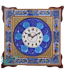 Khatamkari clock 45 cm squar flower and bird