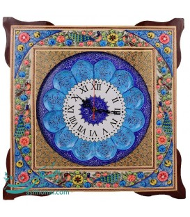 Khatamkari clock 45 cm with flat mina crescent