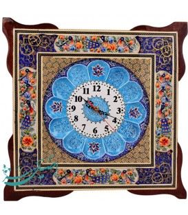 Khatamkari & minakari clock flower and bird 42 cm with flat mina crescent