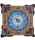 Khatamkari & minakari clock flower and bird 42 cm with flat mina crescent