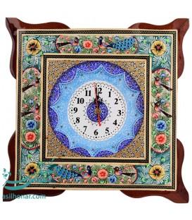ساعت خاتم کاری مربعی 34 سانتی با نقش گُل و مرغ و اسلیمی