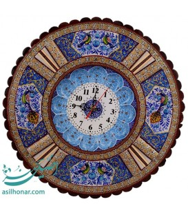 Khatamkari clock round flower and bird 37 cm