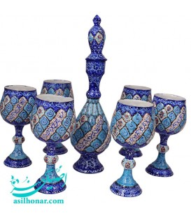Minakari sake jug and glass set arabesque khatai