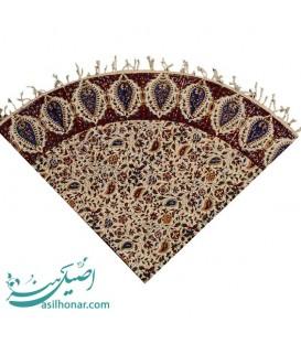 Ghalamkari tablecloth round flower and boteh design 1 m