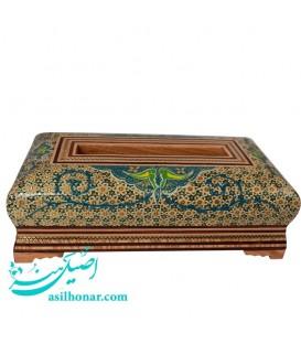 جعبه دستمال کاغذی خاتم کاری مغزدار با نقاشی اسلیمی