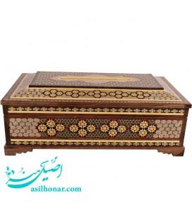 جعبه دستمال کاغذی خاتم اصفهان طرح صلیبی