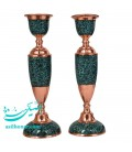 A pair of turquoise inlaying candlesticks 26 cm