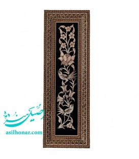 قاب قلم زنی اصفهان 10x45 سانتی با نقش گُل و مرغ