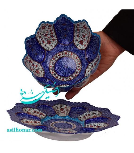 Isfahan minakari bowl and plate set