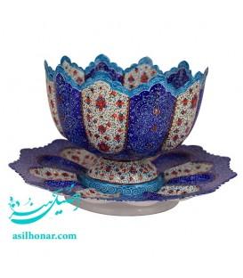 کاسه و بشقاب میناکاری اصفهان 20 سانتی ریز نقش