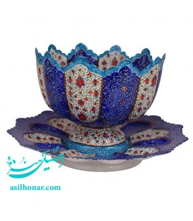Isfahan minakari bowl and plate set 20 cm