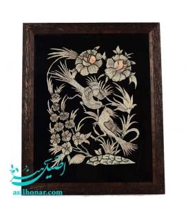 Ghalamzani frame flower and bird 35x45 cm
