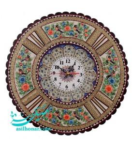 Khatamkari & minakari clock 37 cm round with flat mina crescent