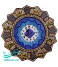 Khatamkari & minakari clock with flat mina crescent solar 42 cm