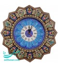 Khatamkari clock solar crescent flower and bird 42 cm