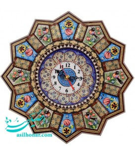 Khatamkari & minakari clock flower and bird 32 cm