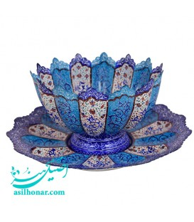 Minakari bowl and plate set 25 cm arabesque khatai