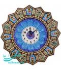 ساعت دیواری خاتم اصفهان اسلیمی و گُل و مرغ سایز 42
