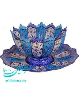 Minakari bowl and plate set arabesque khatai 25 cm
