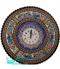 Khatamkari clock round 37 cm excellent with flat mina crescent
