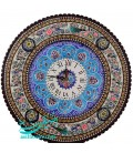Khatamkari clock pardaz 47 cm round with flat mina crescent