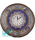 Khatamkari clock round 47 cm flower and bird and arabesque khatai